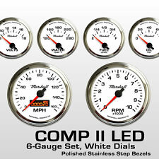 C2 6 Gauge Set, White Dials, Stainless Step Bezels, 2264STP, 0-90 Ohm Fuel Level