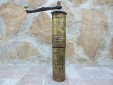 Primitive Antique Ottoman Brass-Carved TUGRA Marked Hand Coffee Grinder 19th #04