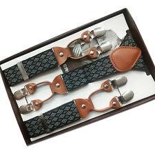 New Unisex Suspenders Workmanship Plaid 6 Clip Braces Elastic Adjustable Vintage
