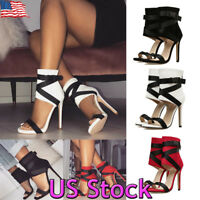 Women Buckle Stiletto High Heels Sandals Open Toe Ankle Strap Party Club Shoes