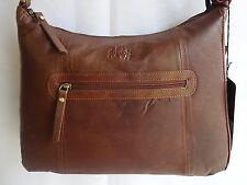 Top Quality Soft Leather Large Hand Bag ZipTop Cognac from ROWALLAN of Scotland