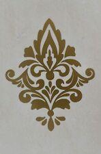 Gold Damask Wall Sticker x 6. Damask Wall Decals. Waterproof Tile Stickers DM1g