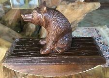 Antique Vintage Swiss Carved Black Forest Carving Desk Top Ink Well Blotter