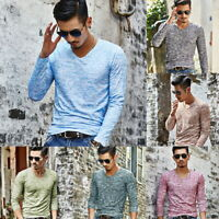 Summer Men's V Neck Fit T-shirt Casual Long Sleeve Soft Shirt Mens Spring Tops