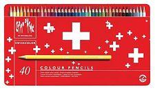 Caran d'Ache 40 Matite Colorate Acquerellabili SWISSCOLOR in Box Metallo *NUOVO*