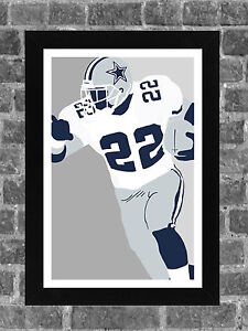 Emmitt Smith Dallas Cowboys Portrait Sports Print Art 11x17