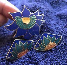 """Vtg Laurel Burch Set Brooch Stud Earrings """"Lotus"""" Sapphire Blue Teal & 22KT GP"""