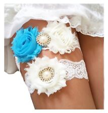 Ivory Blue Wedding Garter Set w/ Pearl Rhinestone Bow Lace Ocean Bride Gift S4B
