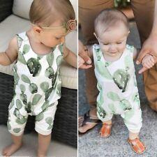 Newborn Infant Baby Girl Boy Cactus Romper Sleeveless Summer Jumpsuit Playsuits
