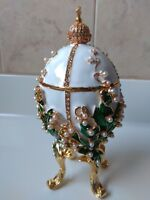 "6.3"" White handcrafted lilies of the Valley Faberge egg Gift for Women"