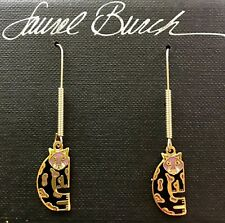 NWT Retired Laurel Burch BABY SNOW LEOPARD Cat Cloisonne Earrings