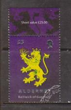 GB - ALDERNEY 2008 Stamp Anniversary/£5 Lion Rampant SG A348 USED HERALDRY ARMS