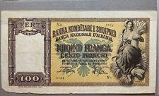 100 FRANCHI REGNO D'ITALIA E ALBANIA - BANCA NAZIONALE D'ALBANIA GENNAIO 1949