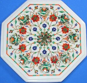 Octagon White Marble Coffee Table Top Floral Design Inlaid Patio Table 12 Inches