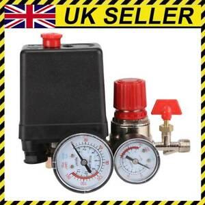 UK Air Compressor Pressure Switch Control Valve Manifold Regulator Gauges 240V