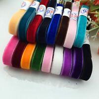 "NEW DIY 5 yards 5/8"" 15mm Soft Comfortable velvet ribbon many choose colours"
