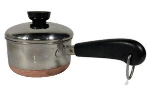Vintage Revere Ware Copper Bottom 3/4 Qt Sauce Pan with Lid Clinton ILL USA Pot
