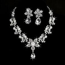 Wedding Bridal Rhinestone Crystal Flower Pearl Drop Necklace Earring Jewelry Set