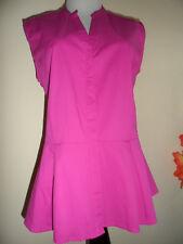 NWT APT.9 Sleeveless Pink Button Down Peplum Blouse Shirt Sz L