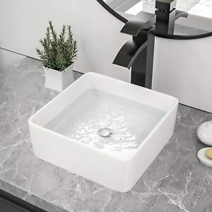 Modern Square Ceramic Small Cloakroom Basin Counter Top Wash White Porcelain UK