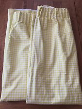 """Yellow & White Gingham Thermal /Blackout Pencil Pleat Curtains 66""""W &  51"""" D"""