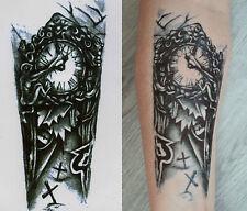 Uhr Arm Zeit Turm Temporary Temporäre Klebe Einmal Tattoo 10,5 x 21 cm HB35