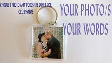 PERSONALISED YOUR PHOTO DOUBLE SIDED 33x33 KEYRING GIFTS CUSTOM ANY TEXT