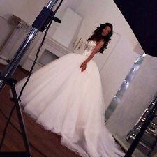 Weiß Elfenbein Brautkleid Hochzeitskleid Cathedral Abendkleid 34 36 38 40 42 44