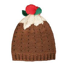 Christmas Pudding Knitted Bobble Beanie Hat Secret Santa Novelty Christmas Gift