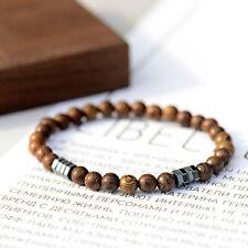 Natural Wood Beads Hematite Elastic Strand Women Men Charm Bracelet Gift Jewelry