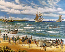 Battle Of Nassau US REVOLUTIONARY WAR Oil Painting Real Canvas Art Giclee Print