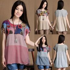 Summer  Women Summer Floral Cotton Linen Short Sleeve Loose Tops T-Shirt Blouse