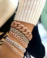 Slim Curb Chain Bracelet 925 Silver Cuban Chain CZ Gemstone Gold Filled