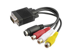 Premium  D-Sub 15-Pin VGA To  Composite RCA A/V + S-Video Adapter Cable