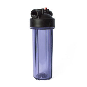 """Standard 2.5x10"""" Clear Filter Housing 3/4"""" NPT with Pressure Release"""