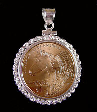 Coin Jewelry Pendant 2012 SACAGAWEA HORSE Dollar Coin Sterling Silver Rope Bezel