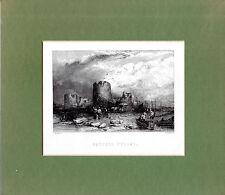 "Antiguo galés Impresiones - ""Castell Fflint"" - Acero Grabado Street Scene (1872)"
