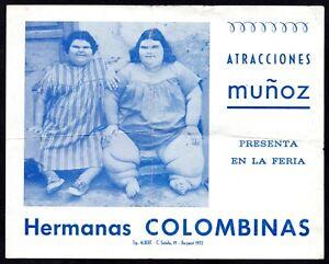 RARO FOLLETO PUBLICITARIO 1972 FREAK SHOW HERMANAS COLOMBINAS ATRACCIONES MUÑOZ