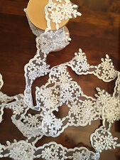 "3""Vintage wedding lace scalloped white and cream embossed print £2.99  FAB"