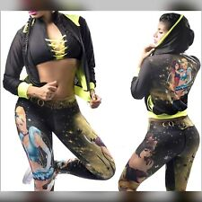 Colombian Brazilian Women 3pc Set Outfit Tights Top & Jacket S M Gym Activewear