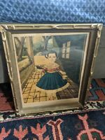ANTIQUE GOLD WOOD GILT PICTURE FRAME ART DECO VTG BUG EYES ART PRINT GLASS 14X12