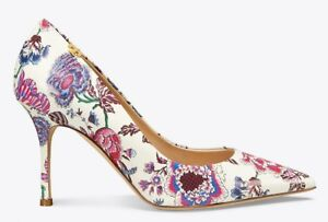 NEW Tory Burch PENELOPE 85 PRINTED PUMPS Happy Times Floral White Heels 10