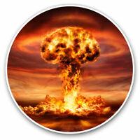 2 x Vinyl Stickers 7.5cm - Nuclear Mushroom Cloud Bomb War Cool Gift #16306