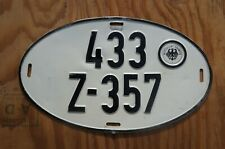 OVAL Germany License Plate German # 433 Z -  357 with Sticker