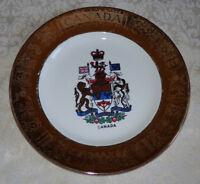 "Vintage Souvenir 10 1/4"" Plate CANADA w/ Gold Border BY DECALCRAFT A MARI"