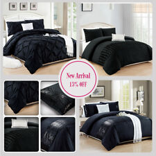 New 300 Thread Count Black Duvet Set Quilt Cover Bedding Set With Pillowcase