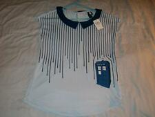 Dr Who Stripes Drip Top Police Public Call Box Blue Hot Topic Shirt Womens Small