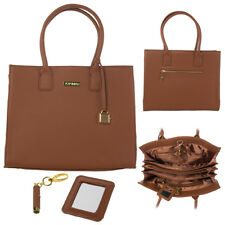 Joy Mangano & Iman Genuine Leather Hollywood Glamour Cognac Handbag SEALED RARE!