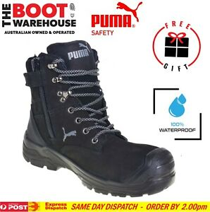 Puma Conquest BLACK 630737. Safety Work Boot. Zip Side, 100% WATERPROOF BOOT