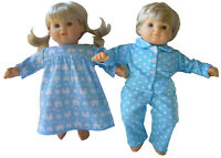 Blue Star Pajamas & Bunny Nightgown Set for Bitty Baby Twins Doll Clothes